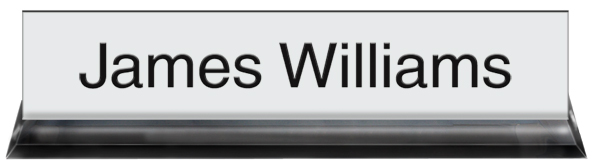 White Plastic Plate with Black Text, Black Acrylic Deskplate