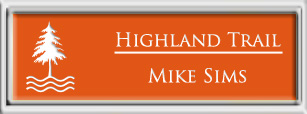 Framed Name Tag: Silver Plastic (squared corners) - Tangerine and White Plastic Insert
