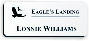Smooth Plastic Name Tag: White with Black - LM922-204