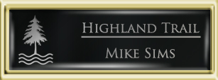 Framed Name Tag: Gold Plastic (squared corners) - Black and Silver Plastic Insert with Epoxy
