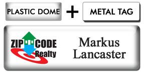 Economy Plastic Dome White Metal Name Tag