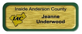 Metal Name Tag: Brushed Gold with Green Metal Border