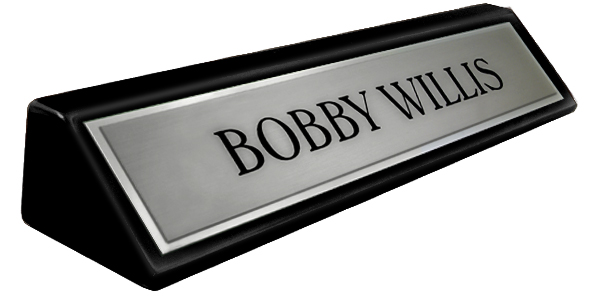 "Brushed Silver Metal Name Plate with a Shiny Silver Border on an 8"" Black Piano Finish Deskplate"