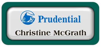 Metal Name Tag: White Metal Name Tag with a Pine Green Plastic Border and Epoxy