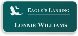 Smooth Plastic Name Tag: Evergreen with White - LM922-912