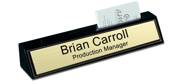 Black Marble Desk Name Plate with Card Holder - Brushed Gold with Black Border
