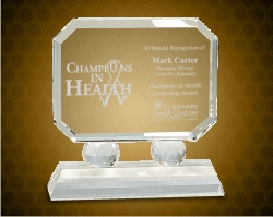 Rectangle Crystal On Clear Pedestal Base