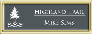 Framed Name Tag: Gold Plastic (squared corners) - Smoke Grey and White Plastic Insert