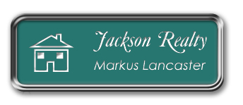 Silver Metal Framed Nametag with Celadon Green and White