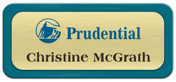 Metal Name Tag: Brushed Gold Metal Name Tag with a Bahama Blue Plastic Border