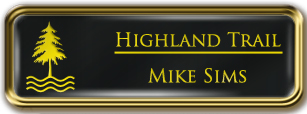 Framed Name Tag: Gold Metal (rounded corners) - Black and Yellow Plastic Insert with Epoxy