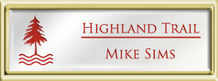 Framed Name Tag: Gold Plastic (squared corners) - White and Crimson Plastic Insert with Epoxy