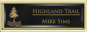 Framed Name Tag: Gold Plastic (squared corners) - Black and Gold Plastic Insert with Epoxy