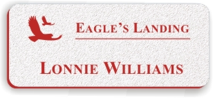 Textured Plastic Nametag: White with Red - 822-246