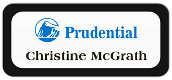 Metal Name Tag: White Metal Name Tag with a Black Plastic Border