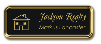 Gold Metal Framed Nametag with Black and Gold