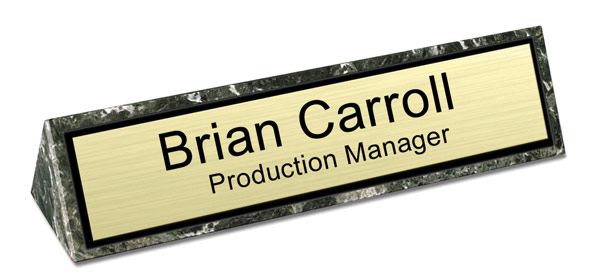 Green Marble Triangle Desk Name Plate - Brushed Gold with Black Border