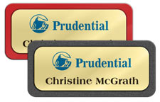 Shiny Gold Metal Name Tags with Plastic Borders