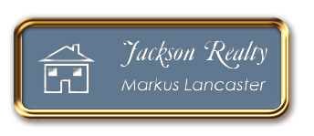 Framed Name Tag: Rose Gold Metal (rounded corners) - China Blue and White Plastic Insert with Epoxy