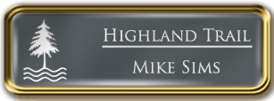 Framed Name Tag: Gold Metal (rounded corners) - Smoke Grey and White Plastic Insert with Epoxy