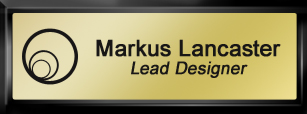 Framed Name Tag: Black Plastic (squared corners) - Shiny Gold and Black Plastic Insert