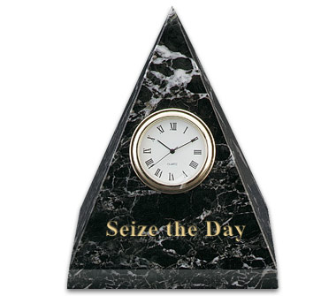 4 3/4 x 3 1/2 x 3 1/2 Inch Black Zebra Pyramid Clock Paperweight