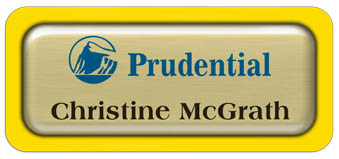 Metal Name Tag: Brushed Gold Metal Name Tag with a Yellow Plastic Border and Epoxy