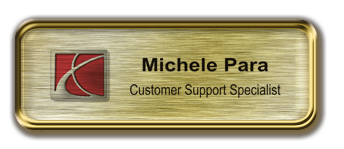 Gold Metal Framed Epoxy Nametag with Brushed Gold Metal Insert