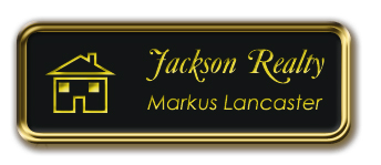 Gold Metal Framed Nametag with Black and Yellow