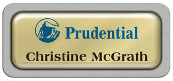 Metal Name Tag: Shiny Gold Metal Name Tag with a Silver Plastic Border and Epoxy