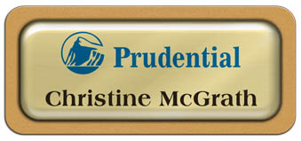 Metal Name Tag: Shiny Gold Metal Name Tag with a Gold Plastic Border and Epoxy