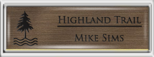 Framed Name Tag: Silver Plastic (squared corners) - Deep Bronze and Black Plastic Insert with Epoxy