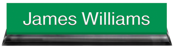 Kelley Green Plastic Plate with White Text, Black Acrylic Deskplate