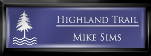 Framed Name Tag: Black Plastic (squared corners) - Purple and White Plastic Insert with Epoxy