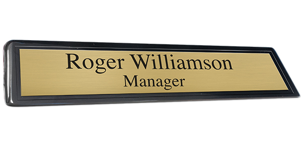 Black Piano Finish Desk Plate with Brushed Gold Plate and Black Border