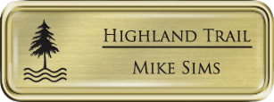 Framed Name Tag: Gold Plastic (rounded corners) - Euro Gold and Black Plastic Insert with Epoxy