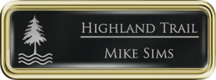 Framed Name Tag: Gold Plastic (rounded corners) - Black and Silver Plastic Insert with Epoxy