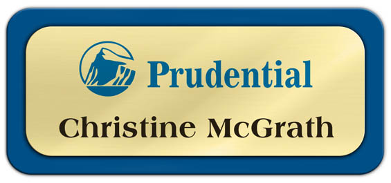 Metal Name Tag: Shiny Gold Metal Name Tag with a Blue Plastic Border