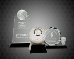 Crystal Golf Awards on Black Pedestal Base