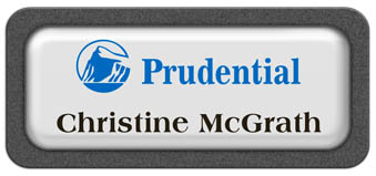 Metal Name Tag: White Metal Name Tag with a Graphite Plastic Border and Epoxy