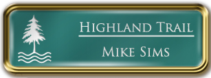 Framed Name Tag: Gold Metal (rounded corners) - Celadon Green and White Plastic Insert with Epoxy