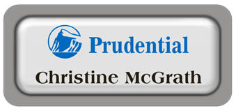 Metal Name Tag: White Metal Name Tag with a Grey Plastic Border and Epoxy