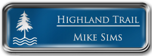 Framed Name Tag: Silver Metal (rounded corners) - Sky Blue and White Plastic Insert with Epoxy