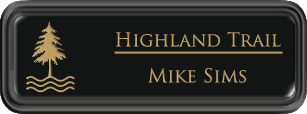 Framed Name Tag: Black Plastic (rounded corners) - Black and Gold Plastic Insert