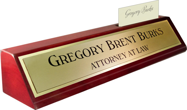 Rosewood Piano Finish Deskplate - Brushed Gold Metal Name Plate with a Shiny Gold Border, Card Slot