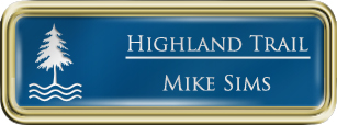 Framed Name Tag: Gold Plastic (rounded corners) - Sky Blue and White Plastic Insert with Epoxy