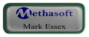 Metal Name Tag: Shiny Silver with Epoxy and Green Metal Border