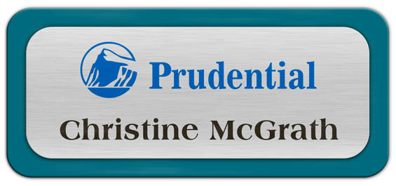 Metal Name Tag: Brushed Silver Metal Name Tag with a Bahama Blue Plastic Border