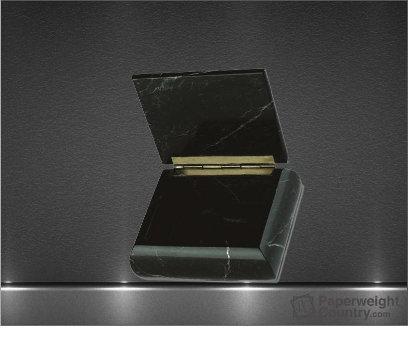 2 x 5 x 4 1/4 Inch Black Zebra Marble Rectangular Box with Hinged Lid