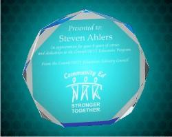 7 Inch Blue  Octagon Acrylic Award